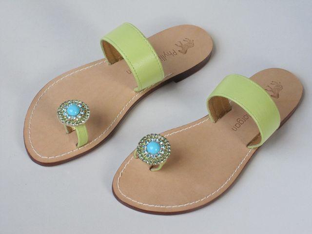 a prezzi accessibili New PHYLLIS MORGAN verde leather flats JEWELED TOE TOE TOE RING scarpe 7  fino al 60% di sconto