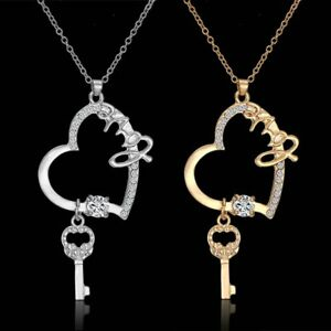Women-Silver-Gold-Plated-Hollow-Heart-Love-Key-Pendant-Necklace-Wedding-Jewelry