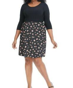 Gilli-Twofer-Black-Floral-Jersey-Fit-And-Flare-Dress-Size-2X