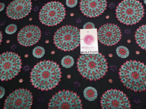 "Burnout Satin Chiffon Mandalas Printed Dress Fabric 58/"" M115 Mtex"