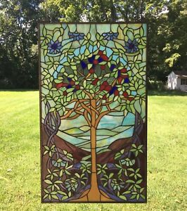 Large Stained Glass Window.Details About 20 X 34 Large Handcrafted Stained Glass Window Panel Tree Of Life