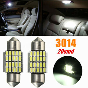 2x-30MM-3014-SMD-20-LED-Festoon-Dome-Car-Interior-Light-Bulbs-White-6000K