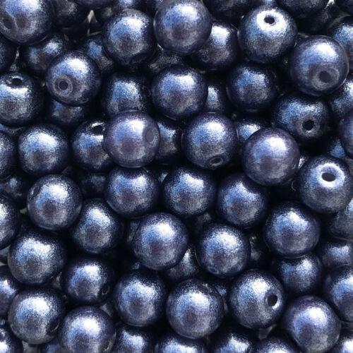 Glasperlen dark-denim-blue 43717 Ø 6 mm Glitter 50 Stück