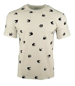 Mcq Wit Velours Flocked Alexander Bird Swallow T shirt Blue Mcqueen Navy Print ywOmnN80vP