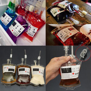 1-20X-REUSABLE-IV-BLOOD-BAGS-HALLOWEEN-PARTY-HAUNTED-DRINK-CONTAINER-DECORATION