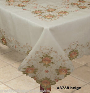 "Embroidered Peach Floral Sheer Tablecloth 70x104"" & 12 Napkins BEIGE #3738E"