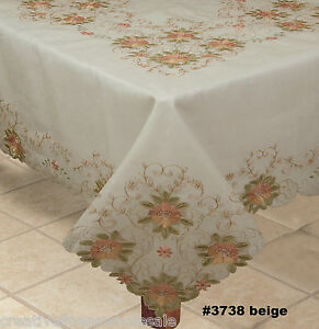 Embroidered-Peach-Floral-Sheer-Tablecloth-70x120-034-amp-12-Napkins-BEIGE-3738E
