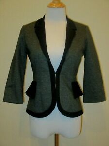 Anthropologie-Cartonnier-Blazer-Jacket-Black-Dark-Gray-Ruffle-Peplum-Size-0P