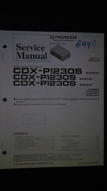 pioneer cdx p1230s service manual original repair car cd player rh ebay com pioneer car audio cd player manual pioneer auto cd player manual