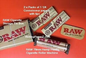 2X-RAW-1-1-4-Connoisseur-w-Tips-Rolling-Papers-Storage-TIN-Hemp-Plastic-ROLLER