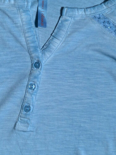 SHEEGO LADIES PURE COTTON OIL-DYED LACE INSERT ROLL SLEEVE TOP BLUE NEW