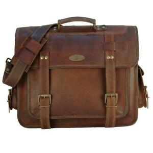 9560ee0a40a2 Details about 18 Inch Vintage Men's Brown Handmade Leather Briefcase Best  Laptop Messenger Bag