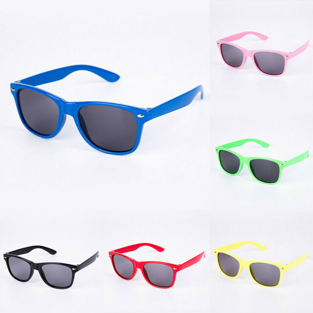 4 Boys Girls Kids Sunglasses Square Frame Neon Reflective Baby Toddler Glasses