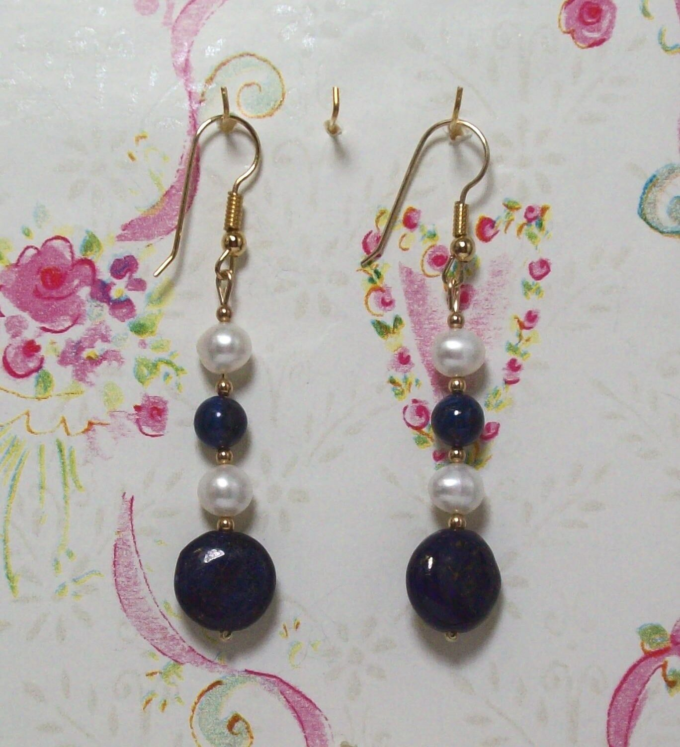 Lapis Lbluei Beaded Earrings With 14K gold Filled 2 1 2  Long . LAPGF0012