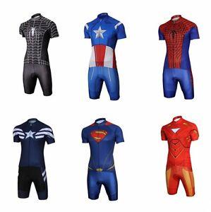 Men s Superhero Costume Short Sleeve T-Shirt Shorts Suit Pad Bike ... 9cf58e8d2