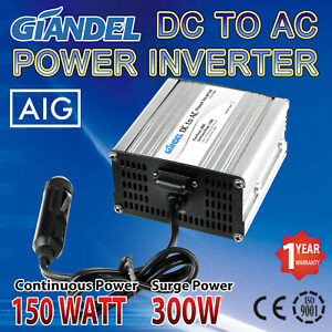 Power-Inverter-150W-300W-DC-12V-to-AC-240V-With-Car-Plug-Cable-Caravan-Camping