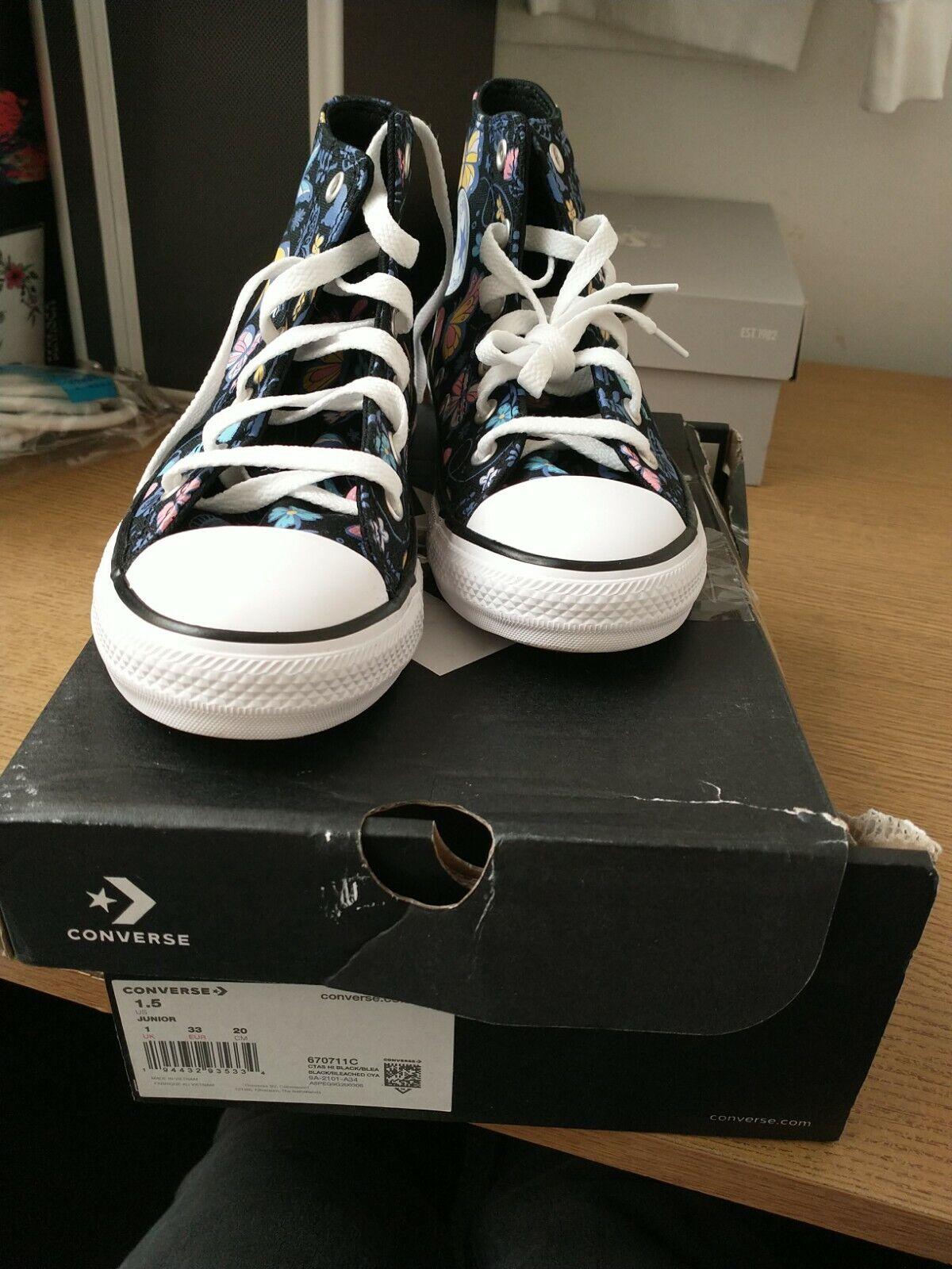 Converse Junior UK 1 Hi Black Butterfly Trainers. New But Box Damage. Ref Shelf