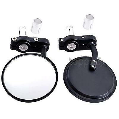 "PAIR UNIVERSAL 7/8"" MOTORCYCLE MIRRORS BLACK MOTORBIKE REAR VIEW SIDE for Suzuki"