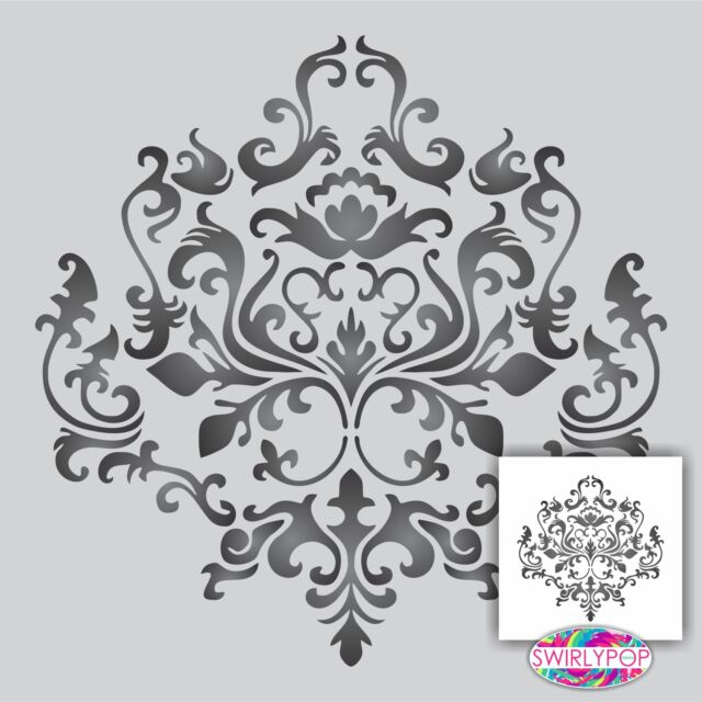 "Damask wall stencil ** LARGE ** 12x12"" Faux Mural Pattern"