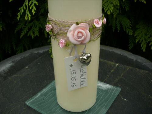 Taufkerze Kerze Herz Spitze Rose rosa Tischdeko Taufe Mädchen