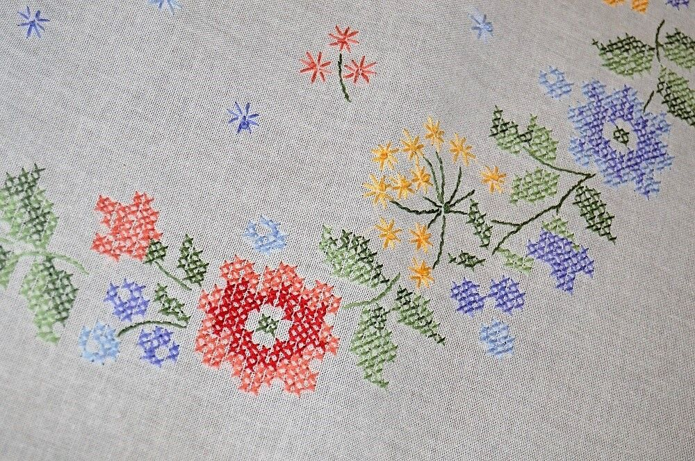 SPRING FLORAL RAINBOW ODYSSEY  VTG GERMAN HAND EMBROIDErouge TABLECLOTH WREATH