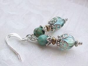 Beach-Glass-Earrings-Ice-Blue-Seashore-Aqua-Collector-Sand-Sea-Everyday-Career