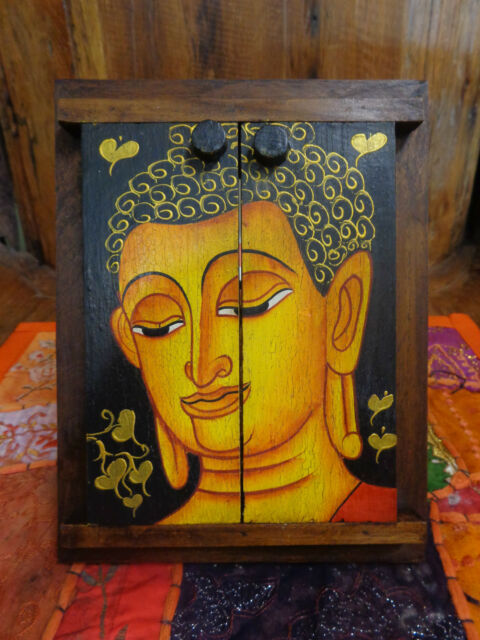 BEAUTIFUL HANDMADE LANA BUDDHA TEAK MIRROR IN FRAME 21 X 16 CM RRP $35