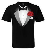 TUXEDO T-SHIRT - Fancy Dress Outfit Stag Party Tux - FREE POSTAGE - Sizes S-XXXL