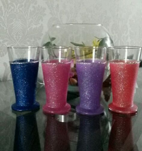♡♡ Set of 4 glittered coffee late glasses  with diamanté rim ♡♡