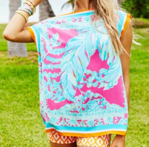 Lilly Pulitzer Julia Caftan Silk Top Tunic Capri P