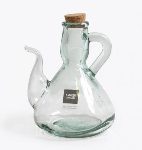 500ml Set 2x Hand Made Olive oil Glass Bottle alcuza decanter with Cork Stopper