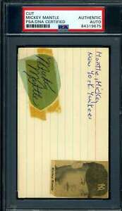 Mickey Mantle PSA DNA Coa Autograph 1950`s Signed 3x5 Index Card