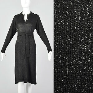 f9e9c4f14985 Large 1970s Black Lurex Dress Vintage Disco Dress 70s Black Knit VTG ...