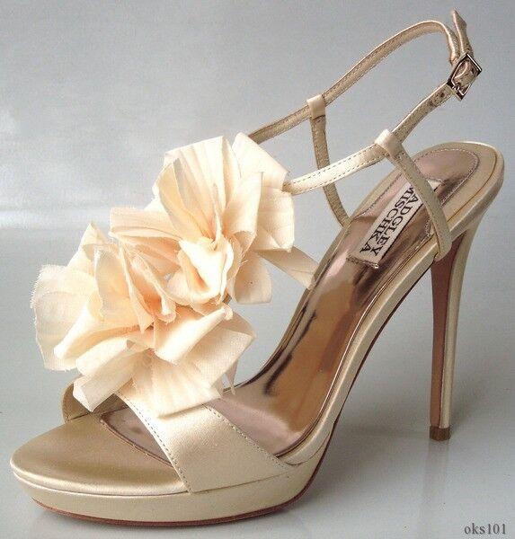 liquidazione fino al 70% New BADGLEY MISCHKA beige satin open-toe FLOWER T-strap pumps scarpe scarpe scarpe heels DRESSY  autentico