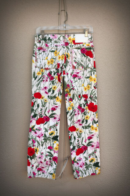 LOUIS FERAUD Size 2/3/4 (36 France) Wide Metallic Stitch Bright Flowers Pants