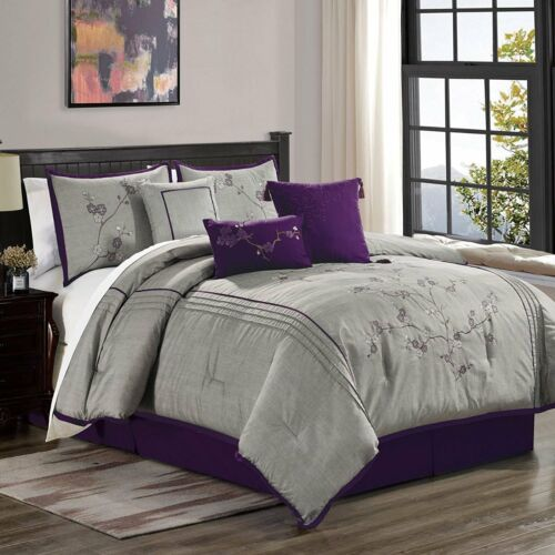 7 Pc Miki Luxury Purple Cherry Blossoms Floral Embroidery Bedding Comforter Set