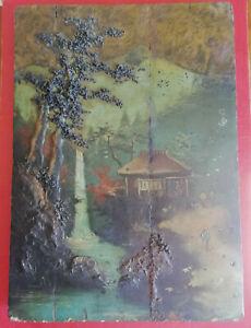 Collection Ici Peinture Sur Planches De Bois Paysage Asiatique Peinture épaisse Relief- 27x41cm Toujours Acheter Bien