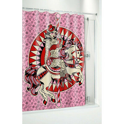 NEW Carousel Horse Pink Shower Curtain Rockabilly Pin Up Lady Tattooed Retro
