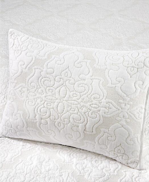 Martha Stewart Gilded Age 100% Cotton Quilted Standard Pillow Sham White $70