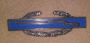 Original Sterling Silver Military Marksmanship Badge Pin With Rifle Clasp