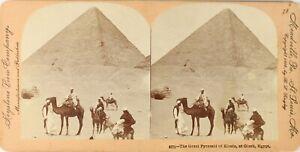 Egitto Gizeh Piramide Da Kheops, Foto Stereo Vintage Albumina PL62L3