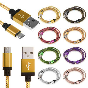 Alluminio-Tessere-Micro-USB-Dati-Sync-Caricabatterie-Cavo-Cordone-Per-Phones