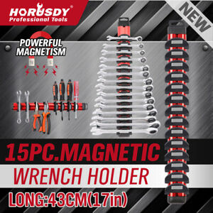 15PC-Magnetic-Wrench-Holder-Spanner-Rack-Standard-Metric-Adjustable-17-034-Powerful