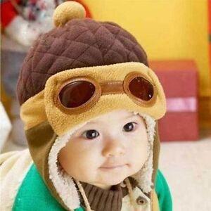 Girls Boys Pilot Cap Aviator Earflap Beanie Kids Baby Toddler Hat Warm Winter