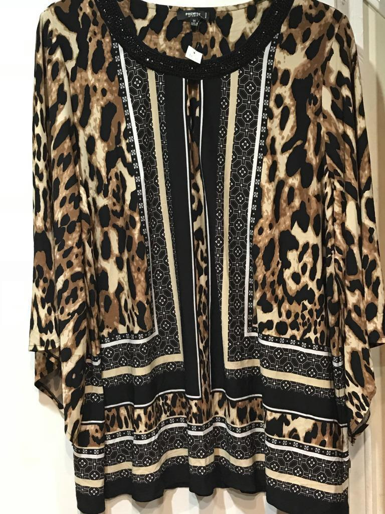 Woherren evening party cocktail Church Cruise Day Animal print Tunic top plus 3X
