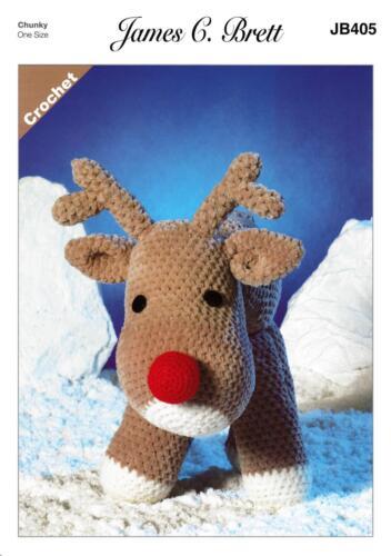 James C Brett JB405 Crochet Pattern Rudolf The Reindeer Toy in Flutterby Chunky
