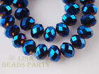 200pc 2x3mm Crystal Glass Faceted Rondelle Loose Spacer Beads Blue Plated Bulk