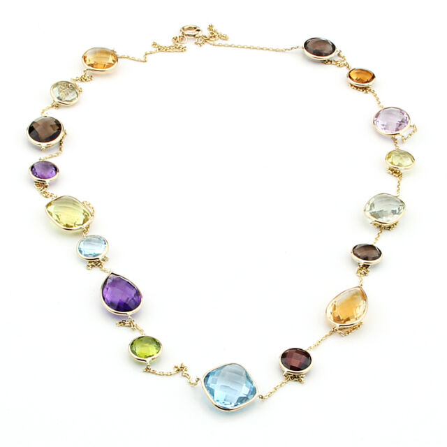 14K Yellow Gold Fancy Cut Multi-Colored Multi-Shaped Gemstone Necklace 36""