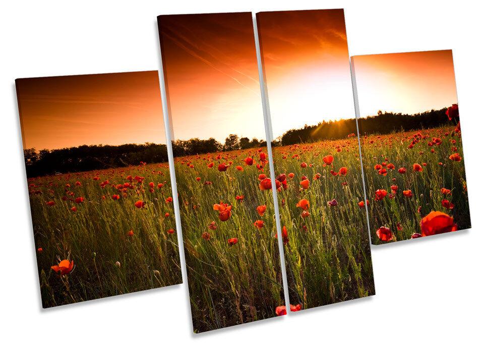Sunset Floral Poppy Field CANVAS WALL ART MULTI Panel Print Box Frame