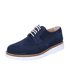 mens shoes FDF SHOES 7 (EU 41) elegant blue suede BZ394-D